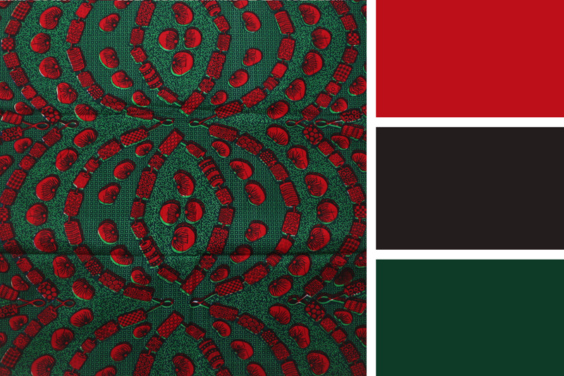 Green and Tomato Red Ankara Fabric