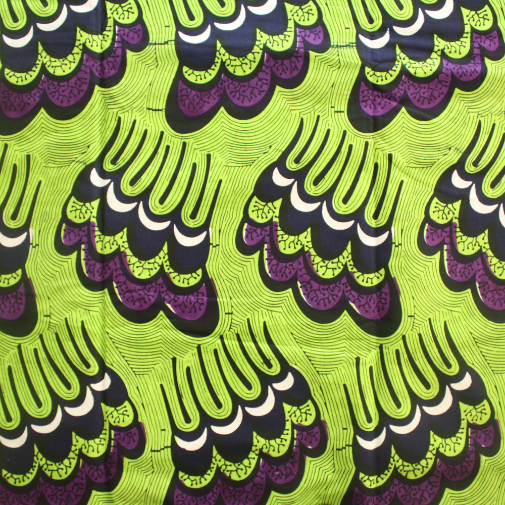 Lime green and Purple Ankara