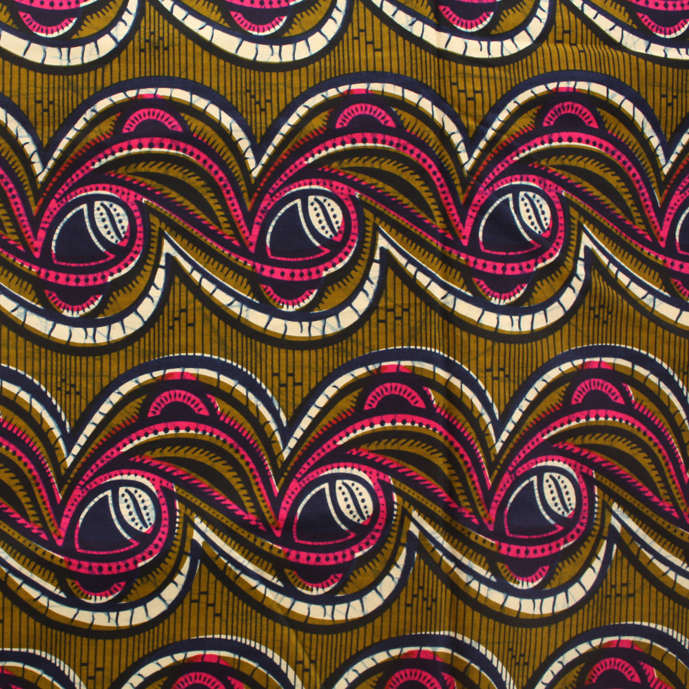 Olive Green and Pink Ankara fabric