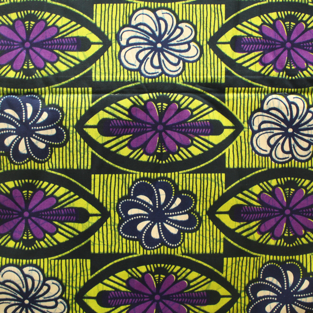 Purple and Lime Green Ankara
