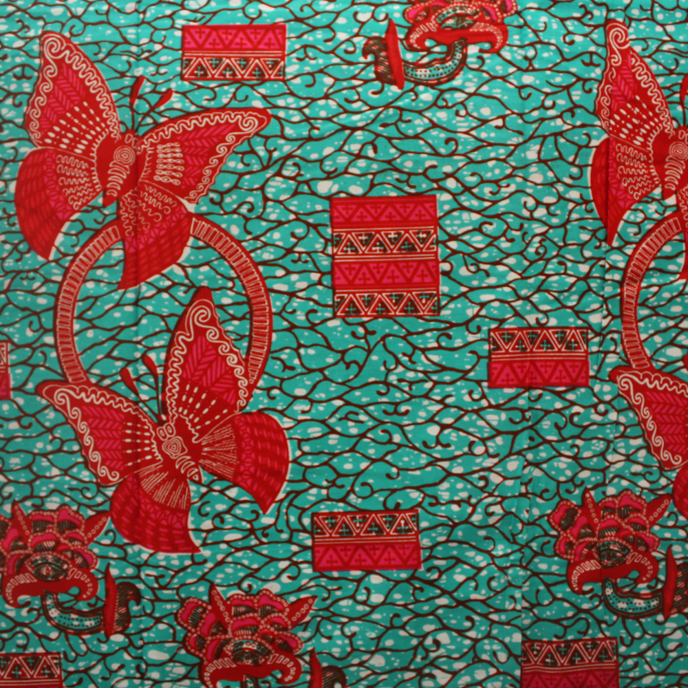 Teal and Red Butterfly Ankara