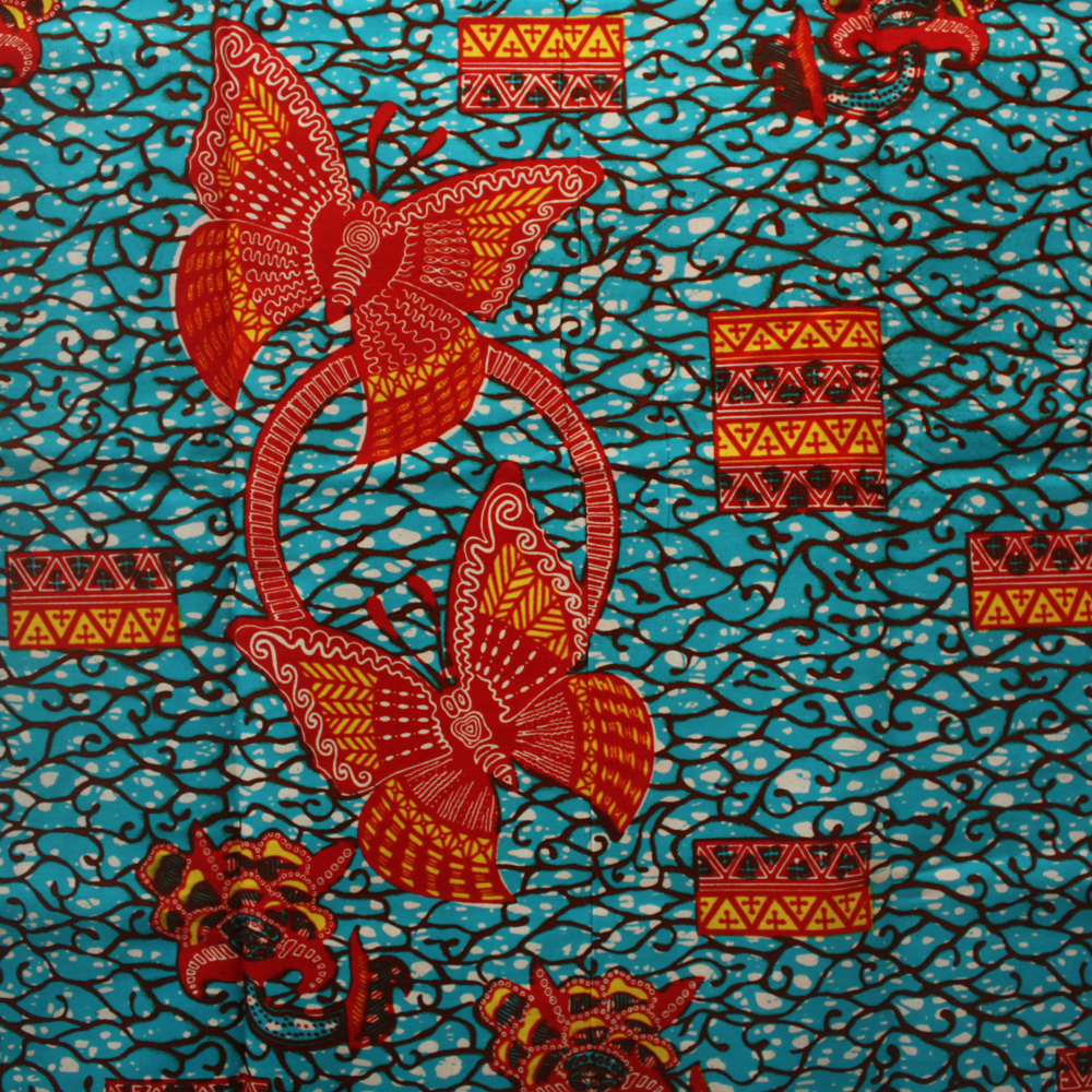 Teal And Red Yellow Orange Kitchen: Teal, Red And Orange Butterfly Ankara Print- 1 Yard