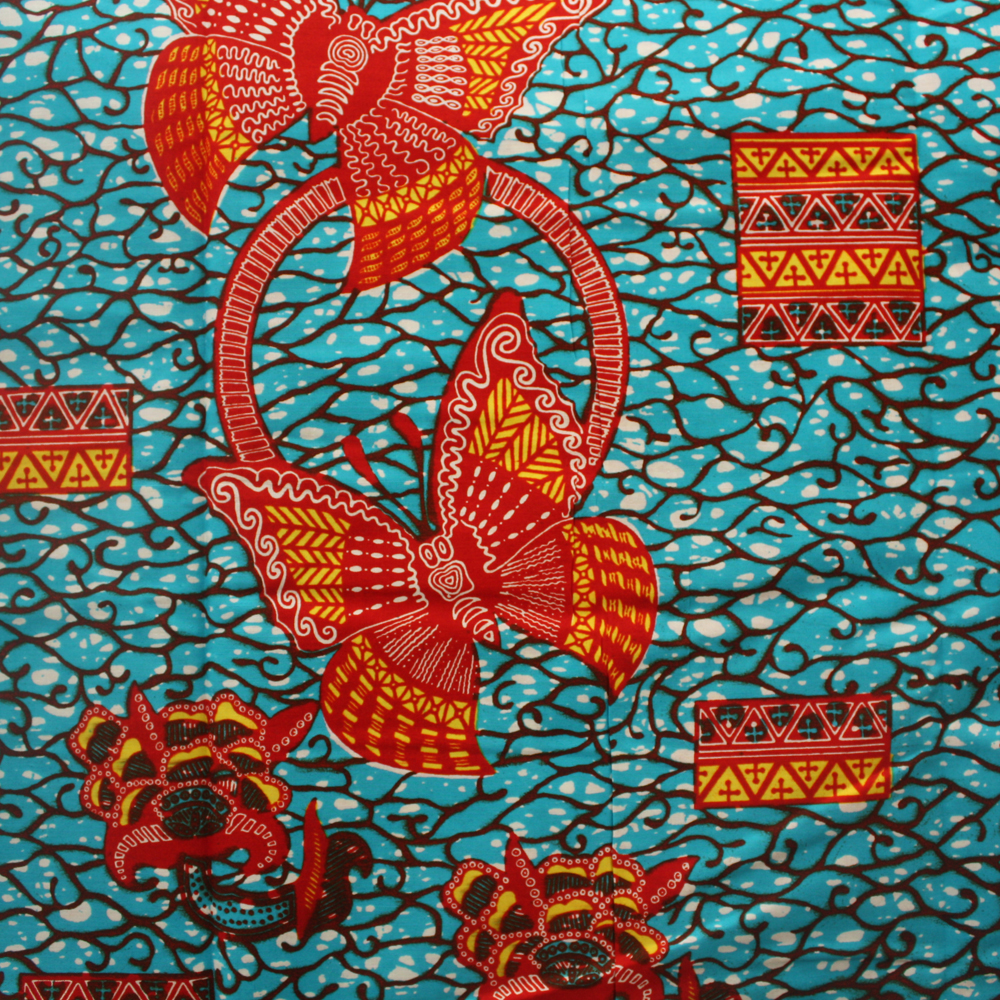 Teal Red And Orange Butterfly Ankara Print 1 Yard