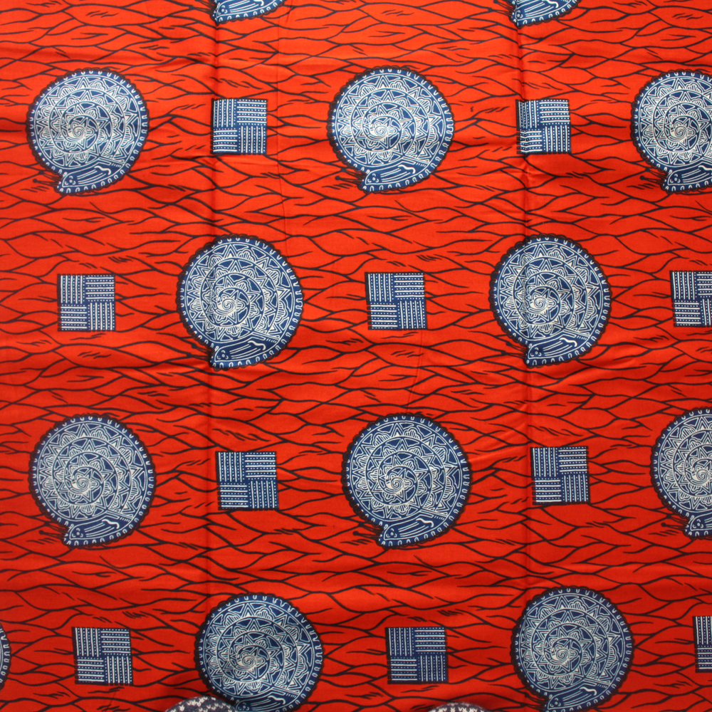 Red and Blue Snail African Fabric