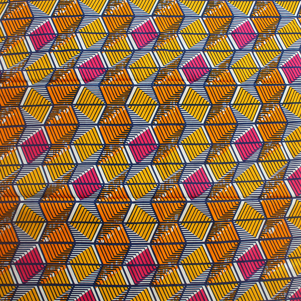 Orange Yellow And Blue African Print 1 Yard Urbanstax