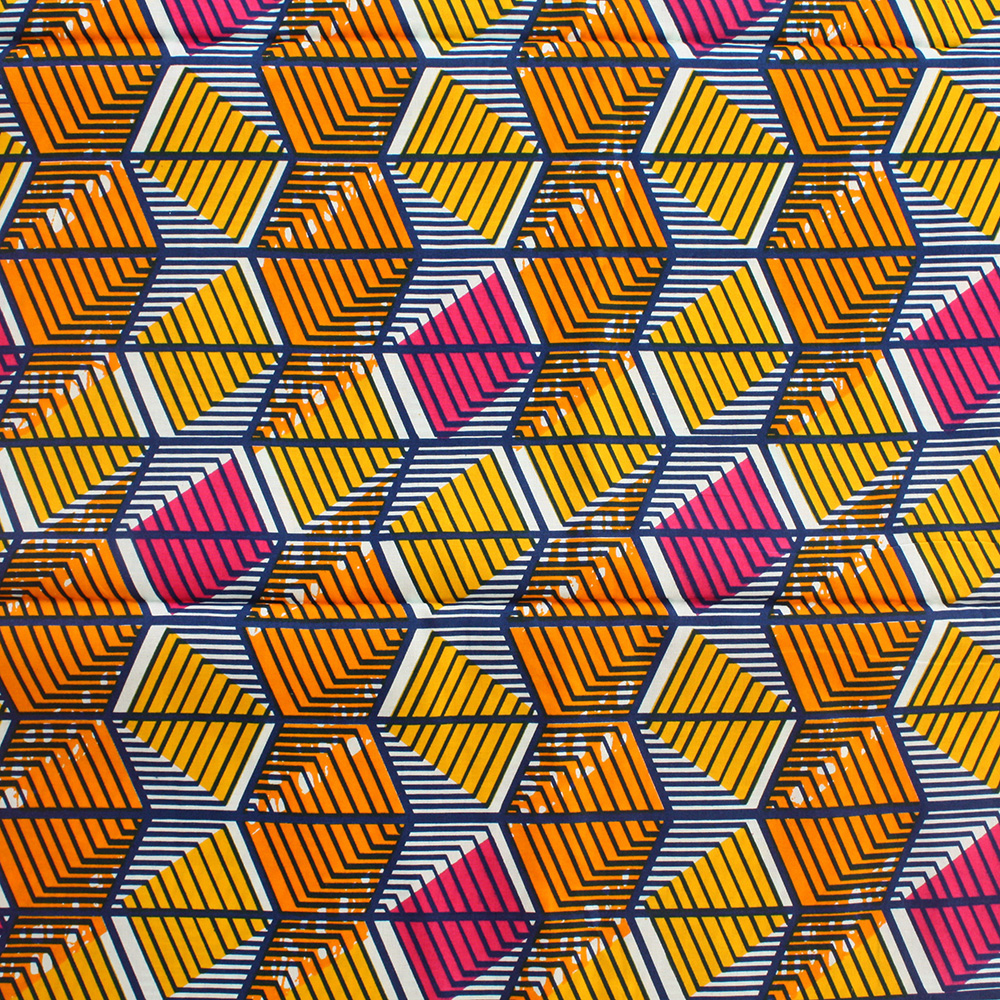 Orange, Yellow and Blue African Print- 1 Yard | Urbanstax