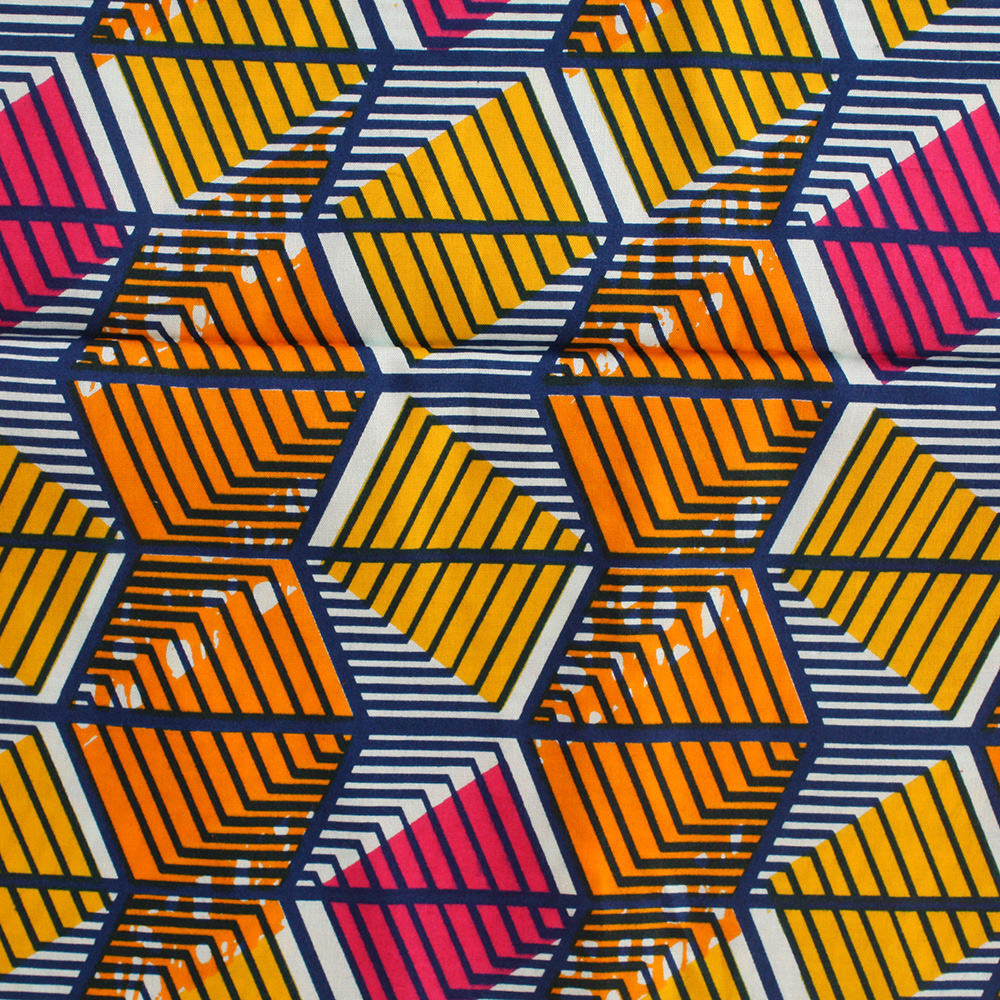 Orange, Yellow and Blue African Print