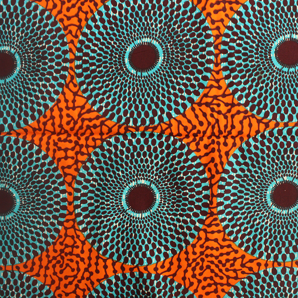 Nsu Bura Fabric Teal And Orange 1 Yard Urbanstax