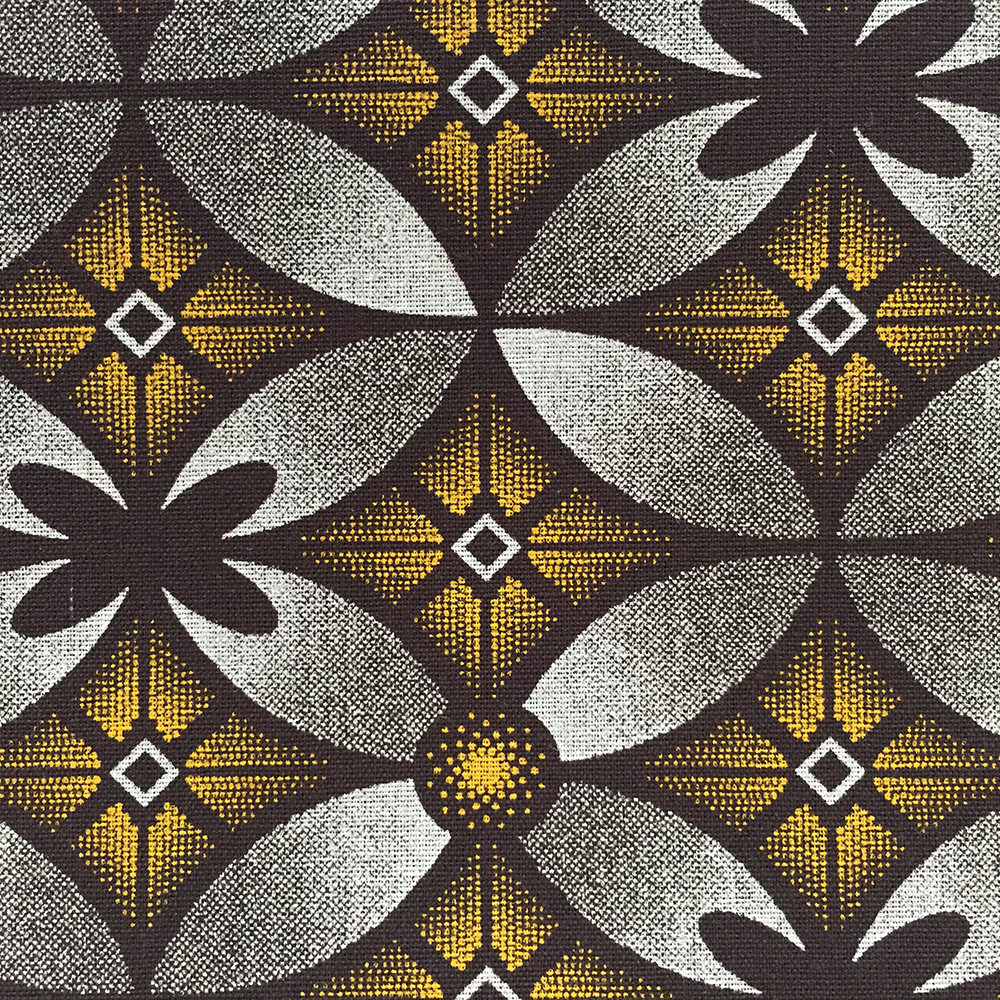 Brown and Yellow Floral Shweshwe Fabric