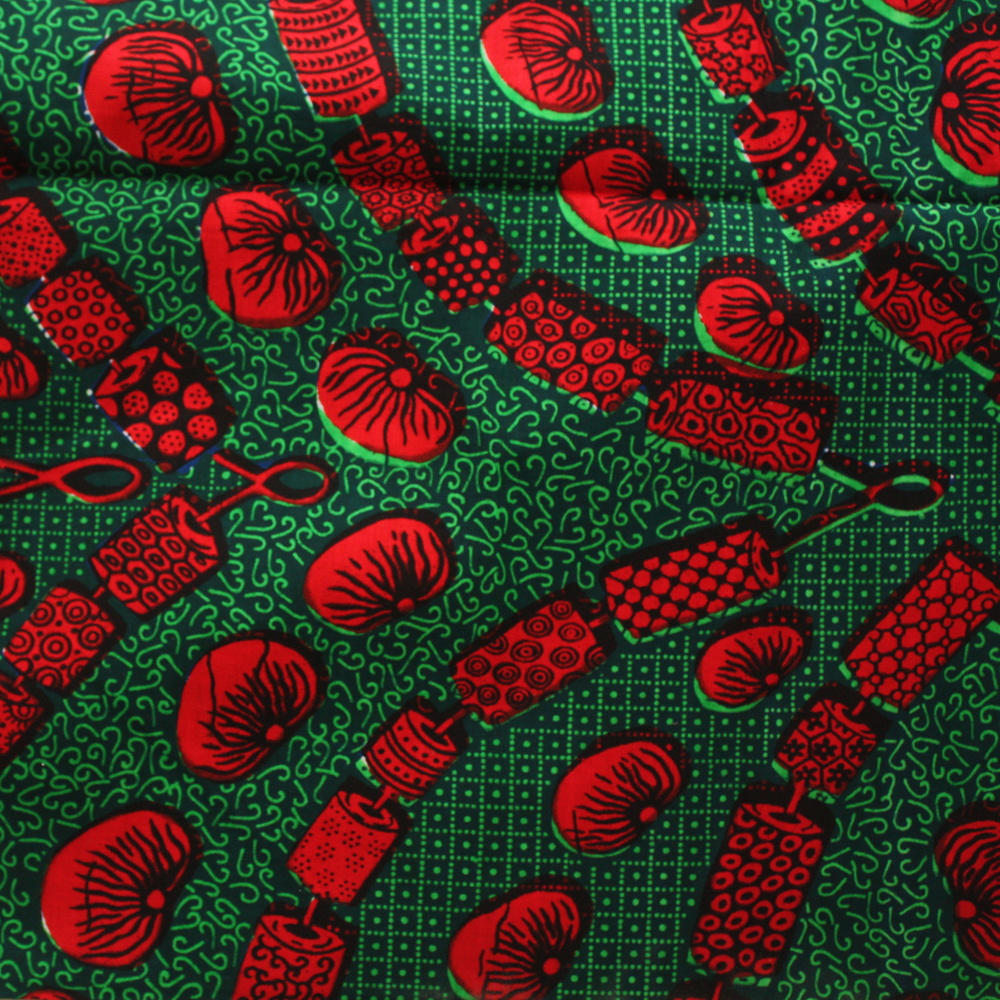 Green and Tomato red ankara