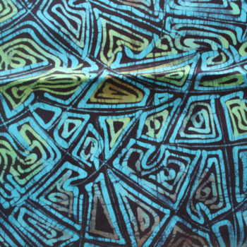 Green and blue batik fabric