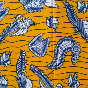 Yellow and Blue African wax print