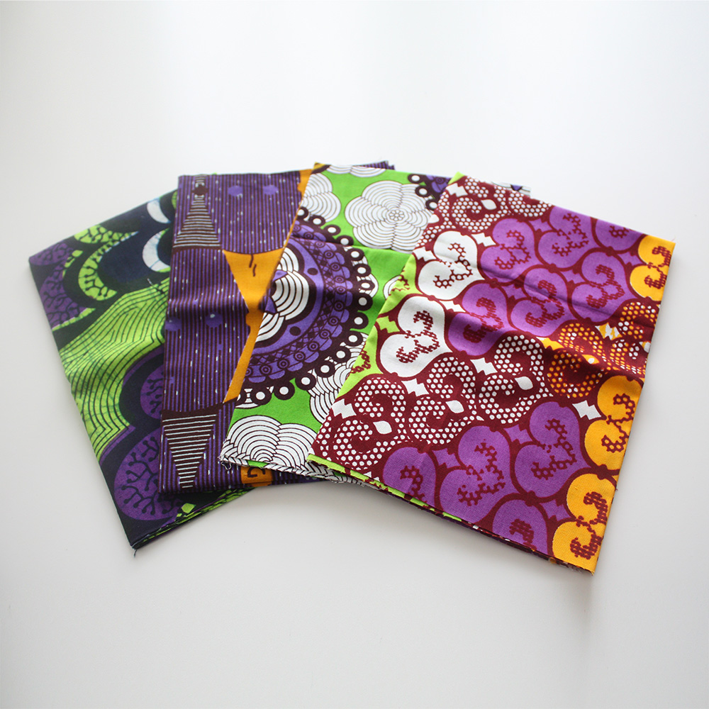 African print fat quarters with Purple