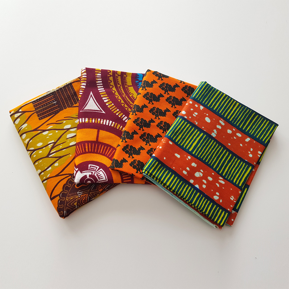4 African Print Fat Quarters With Orange
