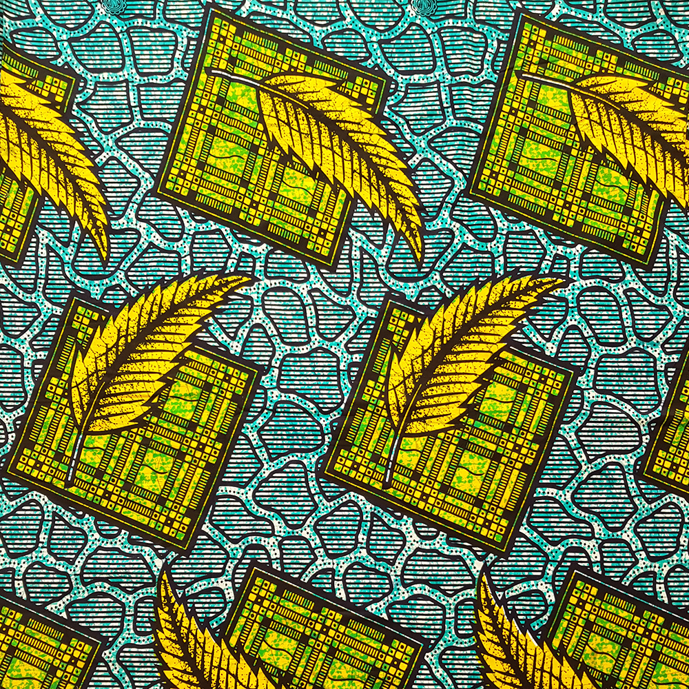 Teal and Yellow Ankara fabric