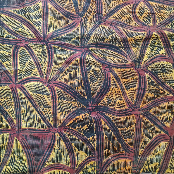 Brown and pale orange Nigerian batik