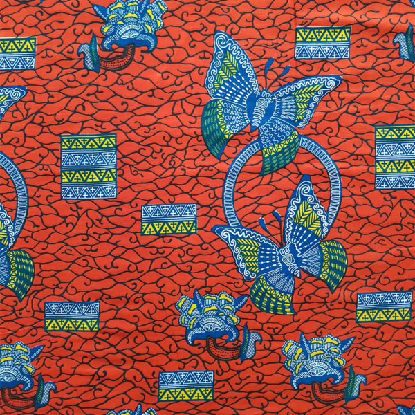 Red and Blue Butterfly African Print