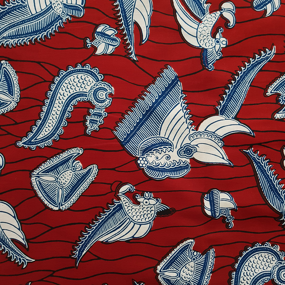 Crevettes Print in red and blue