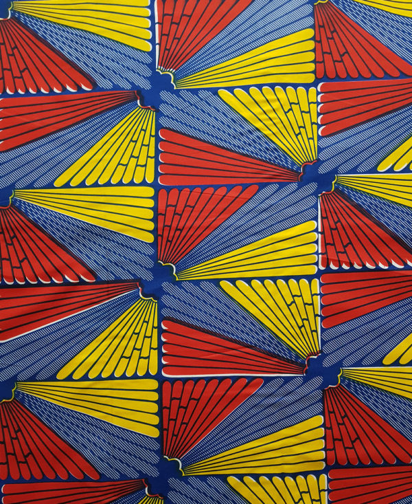 Red, blue and yellow wing print