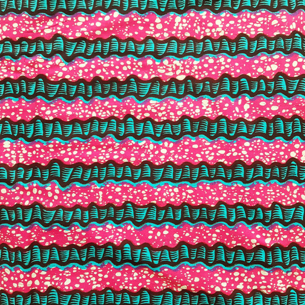 Pink and Turquoise Sugarcane Ankara available from Urbanstax