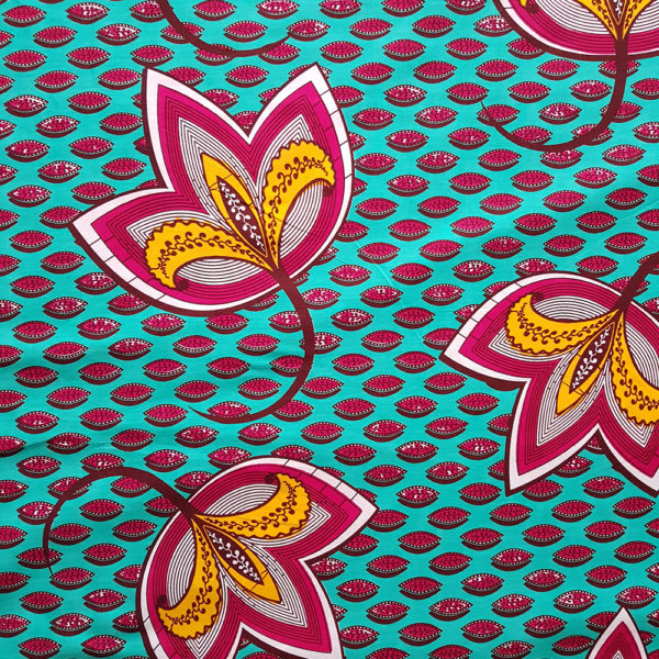 Teal and Magenta Leaf Ankara Print