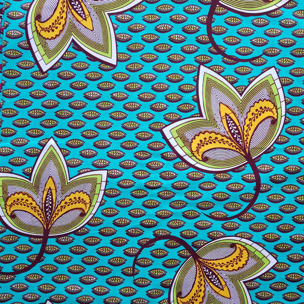 Teal and Yellow Floral Ankara