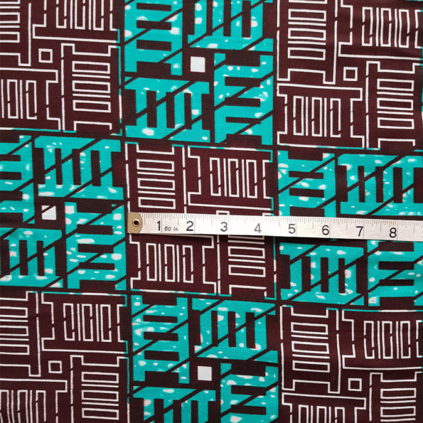 Turquoise and Brown Ladder Print