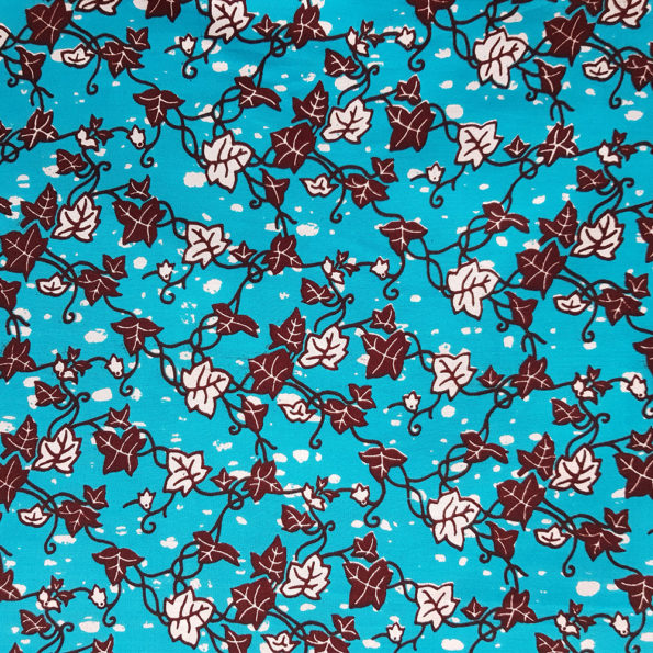 Turquoise and Brown Floral Ankara