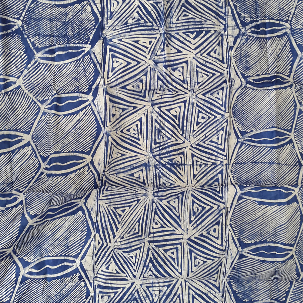 Abstract Blue And White Batik- 5 Yards