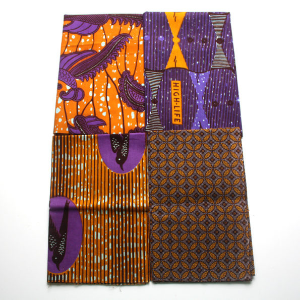 Burnt Orange and Purple Fat Quarters