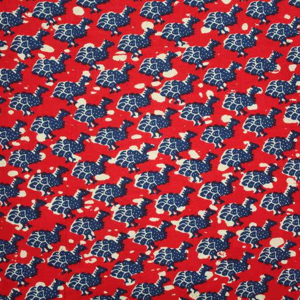 Guineafowl Red and Blue Ankara fabric