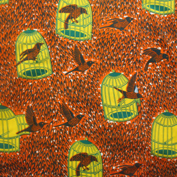 Orange and Yellow Birdcage Ankara Print