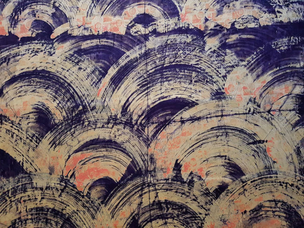 Purple and Yellow Swipe Batik