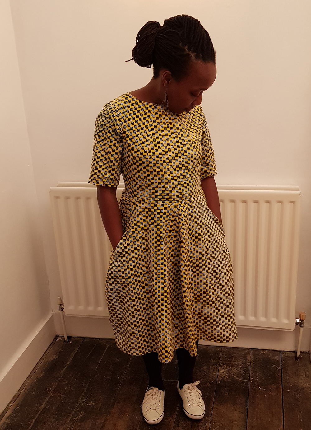 The Assembly Line Shop Tulip Dress in Yellow Dice Ankara by Urbanstax