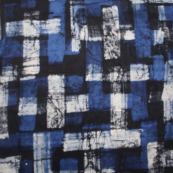 Dark blue brushstrokes batik
