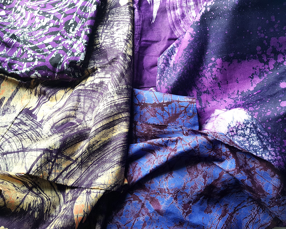 Handmade purple batik from Nigeria and Ghana